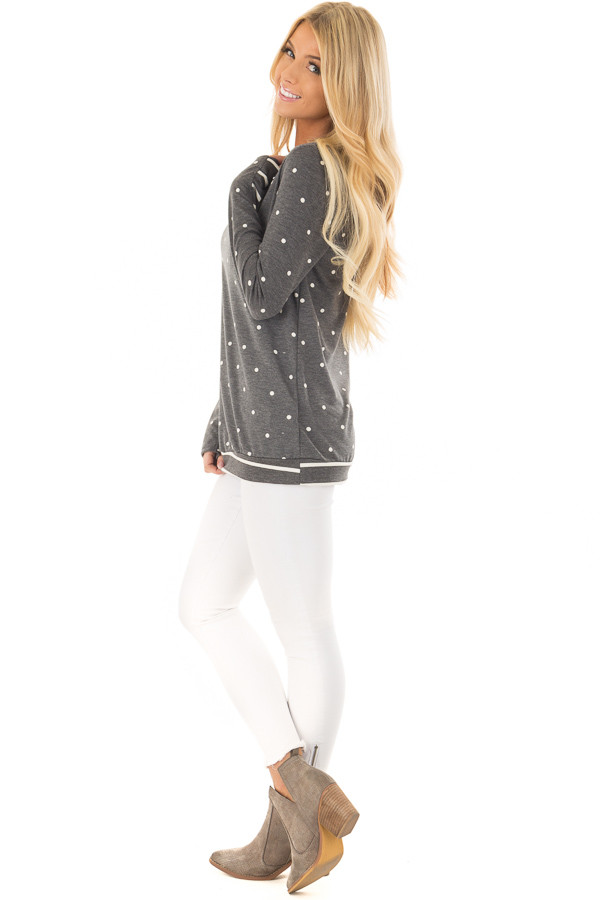 Charcoal Polka Dot Top with Striped Contrast side full body