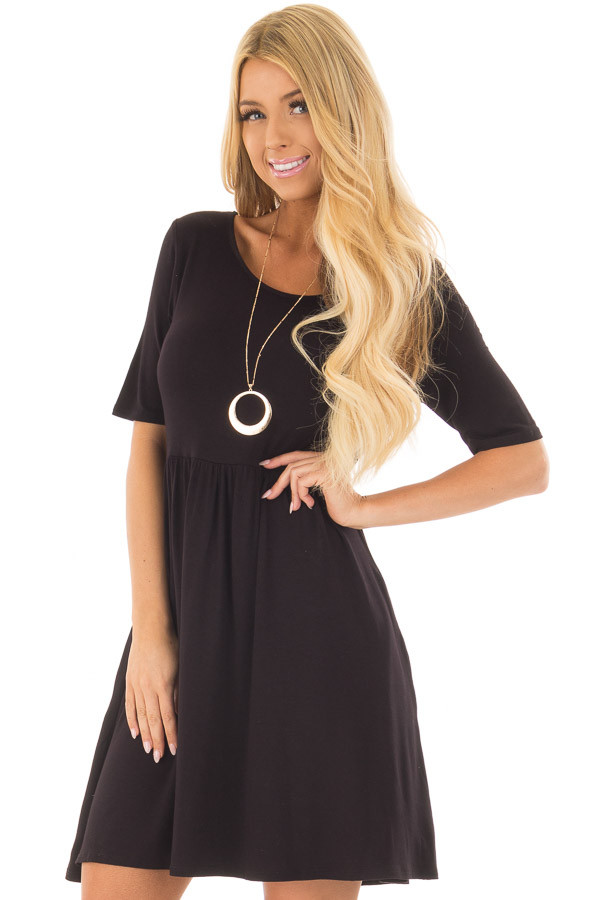 Black Dress with Criss Cross Strap Detail front closeup