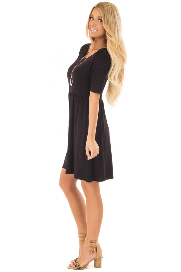 Black Dress with Criss Cross Strap Detail side full body