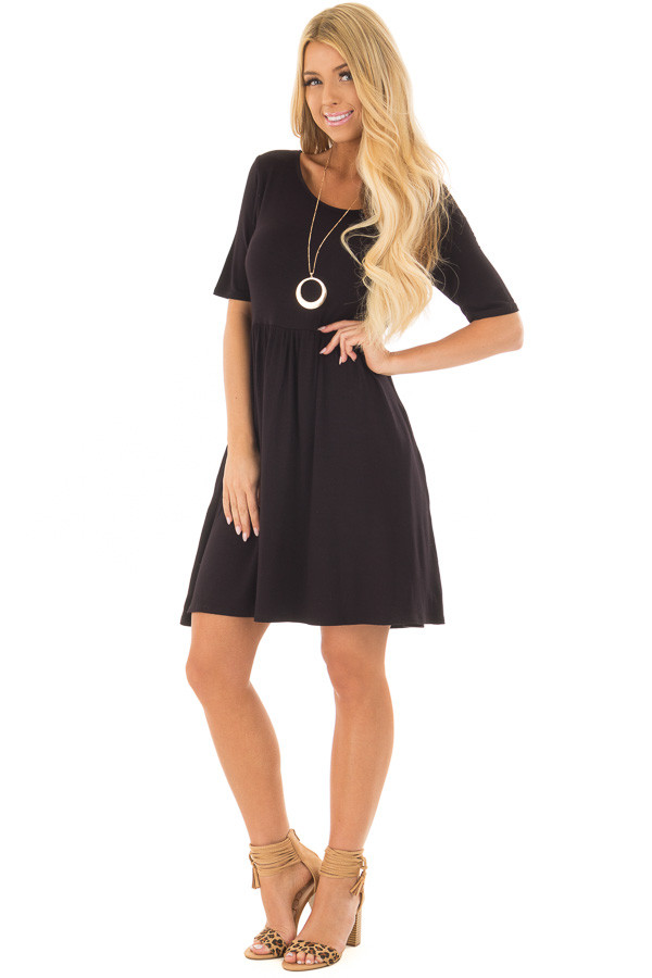 Black Dress with Criss Cross Strap Detail front full body