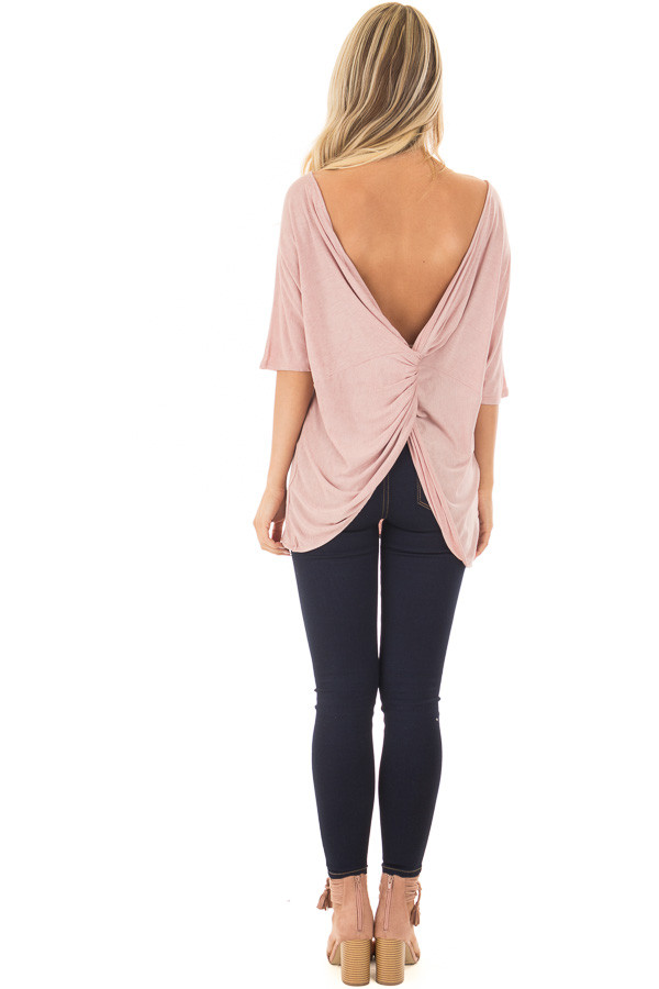 Blush Top with Back Twist Detail back full body