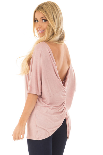 Blush Top with Back Twist Detail over the shoulder closeup