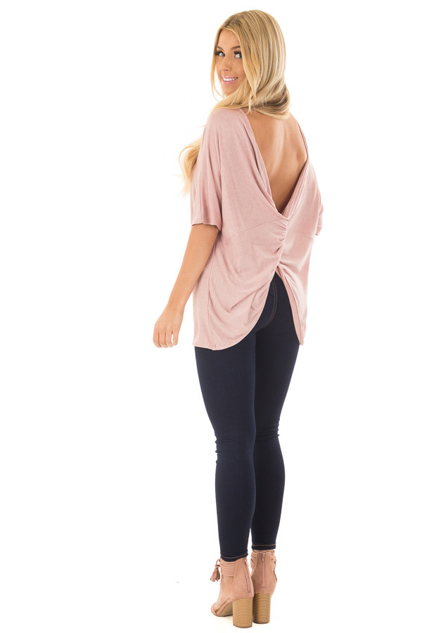 Blush Top with Back Twist Detail over the shoulder full body