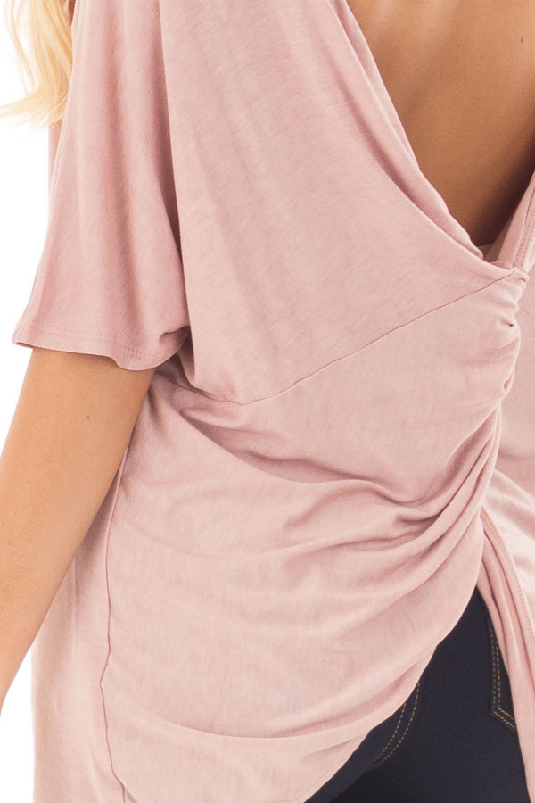 Blush Top with Back Twist Detail back detail