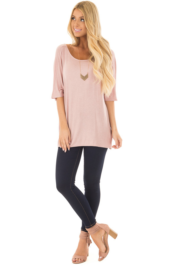Blush Top with Back Twist Detail front full body