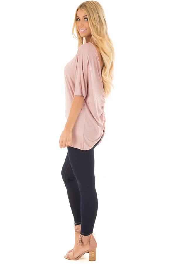 Blush Top with Back Twist Detail side full body
