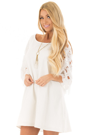 Off White Dress with Sheer Lace Sleeves front closeup