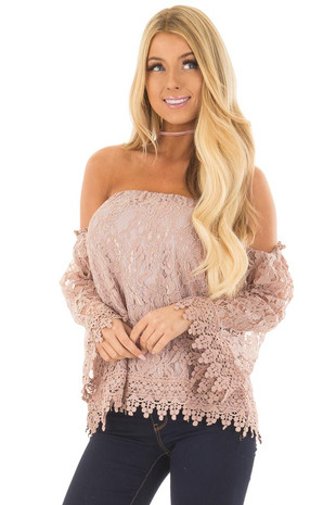 Mauve Off the Shoulder Lace Top with Bell Sleeves front closeup