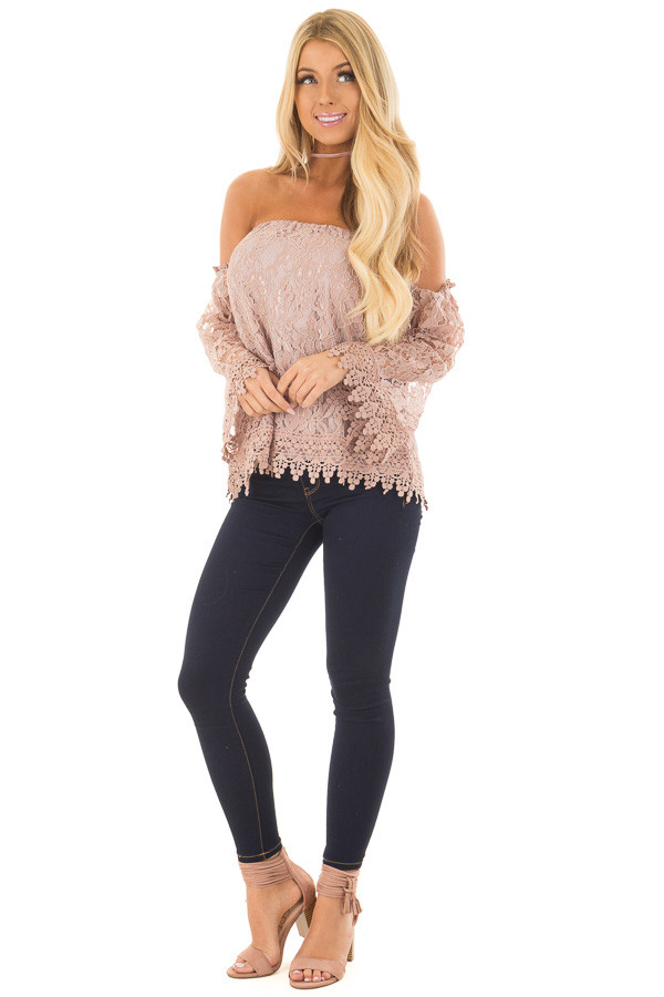 Mauve Off the Shoulder Lace Top with Bell Sleeves front full body
