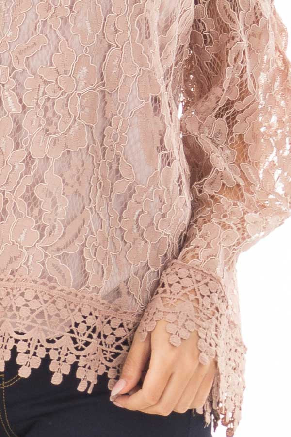 Mauve Off the Shoulder Lace Top with Bell Sleeves front detail