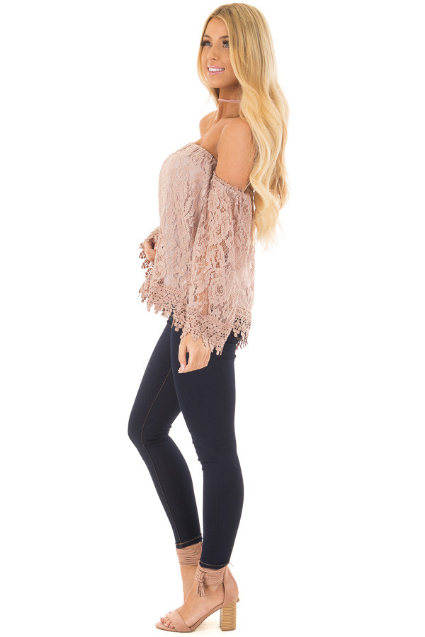 Mauve Off the Shoulder Lace Top with Bell Sleeves side full body