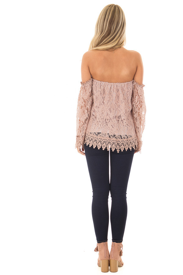 Mauve Off the Shoulder Lace Top with Bell Sleeves back full body