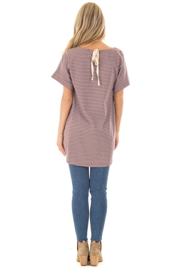 Deep Mauve Striped Tunic with Front Tie Detail back full body