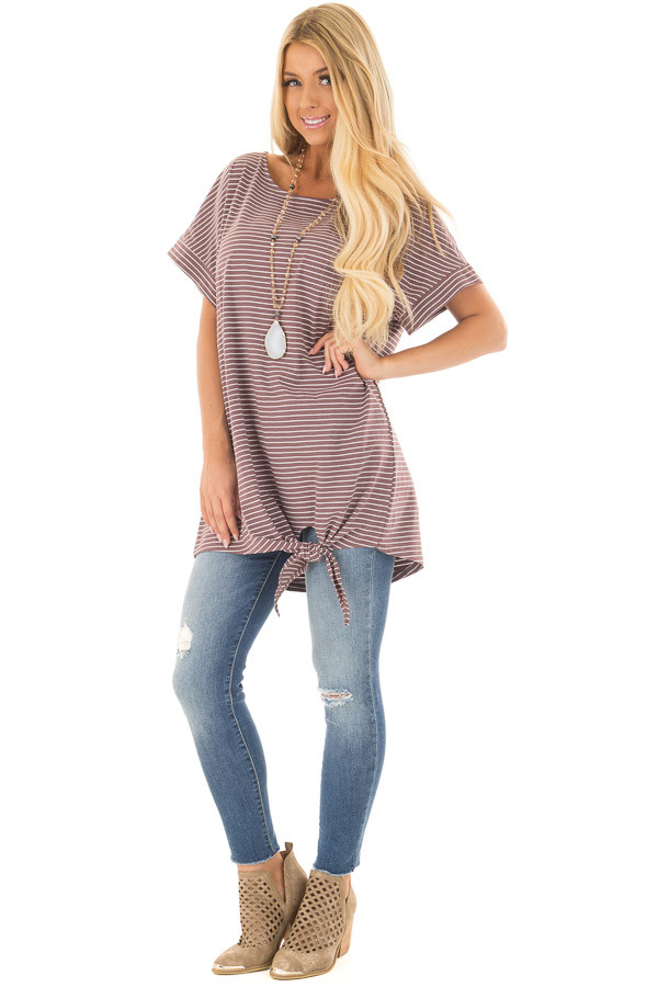 Deep Mauve Striped Tunic with Front Tie Detail front full body