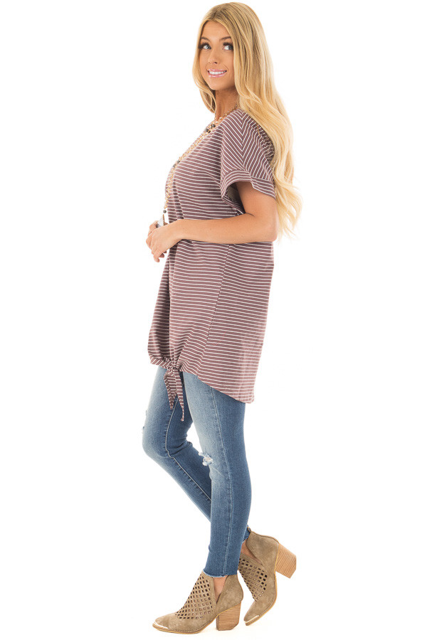 Deep Mauve Striped Tunic with Front Tie Detail side full body