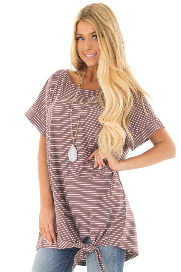 Deep Mauve Striped Tunic with Front Tie Detail front closeup