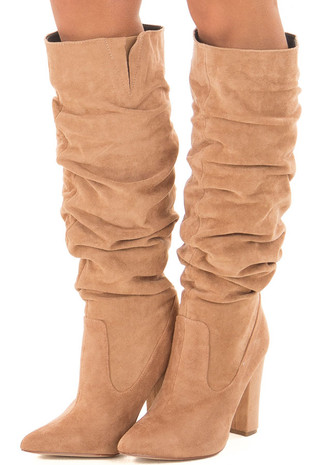 Nude Faux Suede Slouchy High Heeled Boots front side