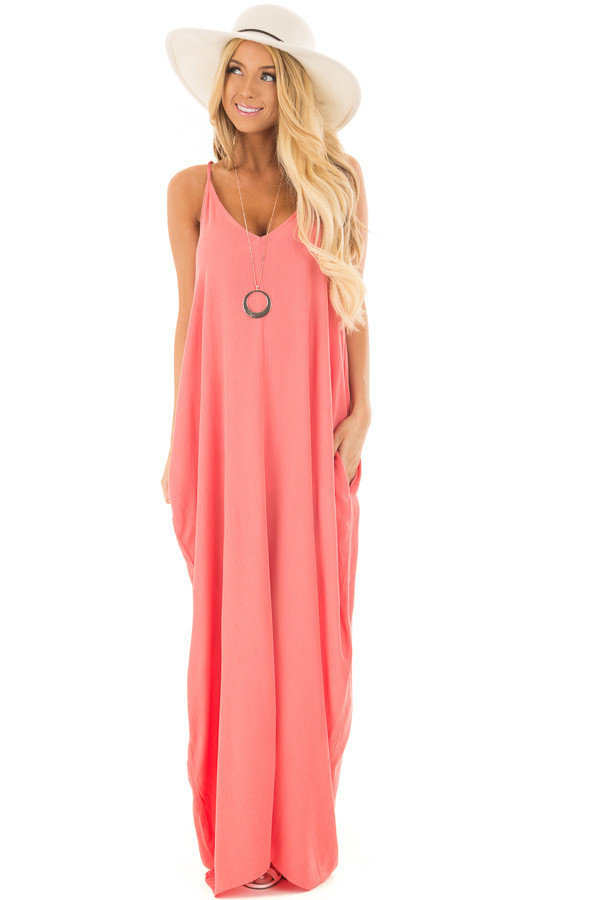 Coral Sleeveless Cocoon Maxi Dress with Side Pockets front full body