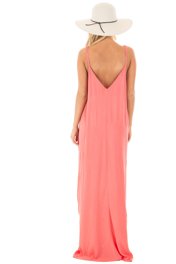 Coral Sleeveless Cocoon Maxi Dress with Side Pockets back full body