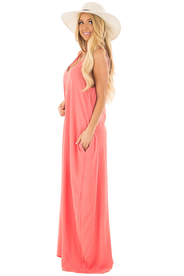 Coral Sleeveless Cocoon Maxi Dress with Side Pockets side full body