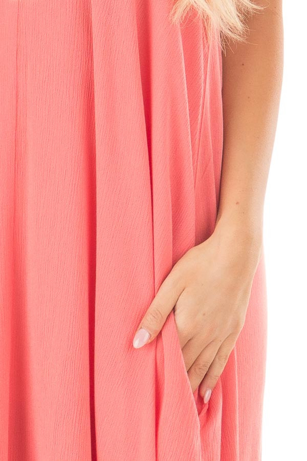 Coral Sleeveless Cocoon Maxi Dress with Side Pockets front detail
