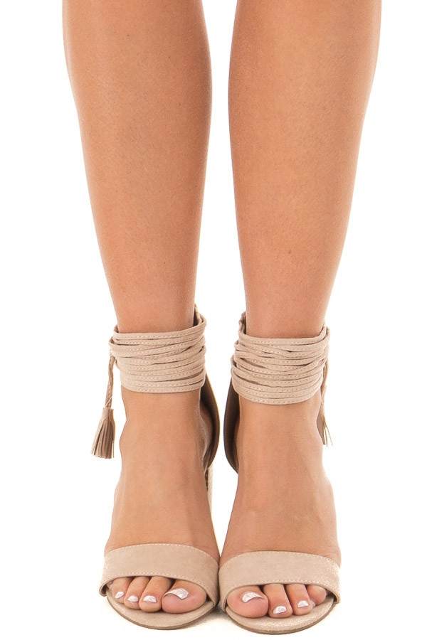 Taupe High Heeled Sandal with Strappy Ankle Details front