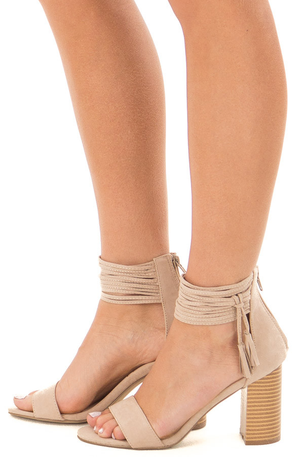 Taupe High Heeled Sandal with Strappy Ankle Details side