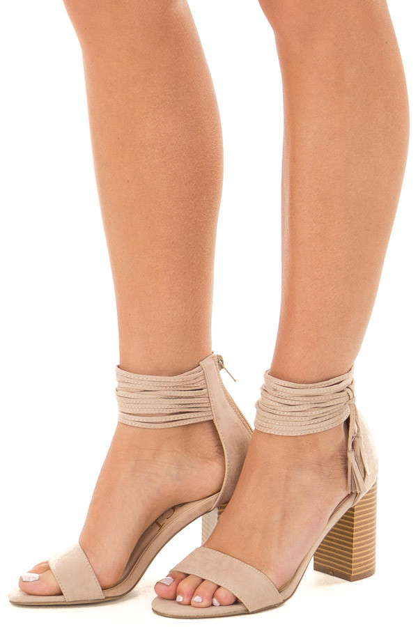 Taupe High Heeled Sandal with Strappy Ankle Details front side