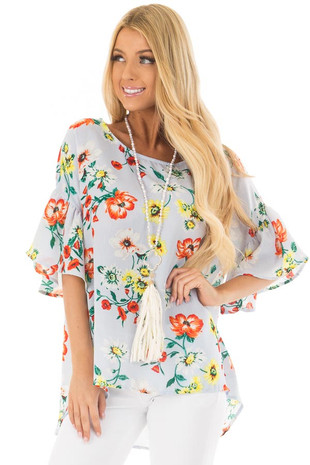 Sky Blue Bell Sleeve Top with Floral Print Detail front closeup