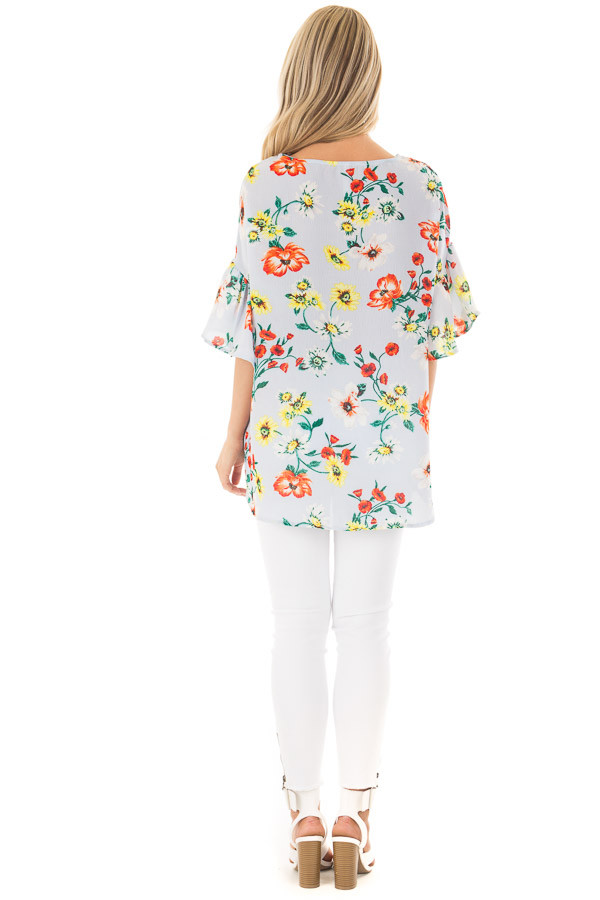 Sky Blue Bell Sleeve Top with Floral Print Detail back full body