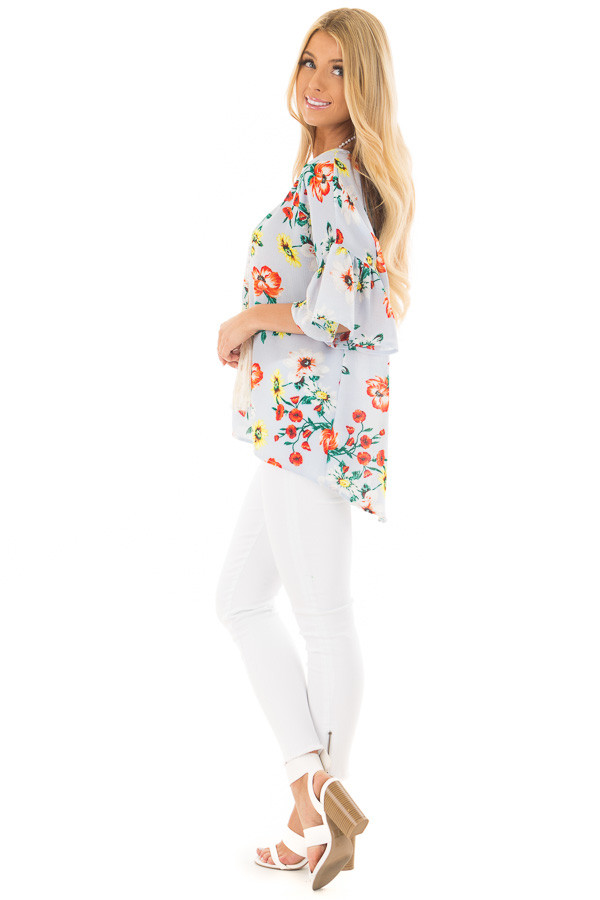 Sky Blue Bell Sleeve Top with Floral Print Detail side full body