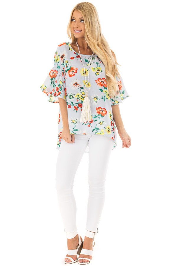 Sky Blue Bell Sleeve Top with Floral Print Detail front full body