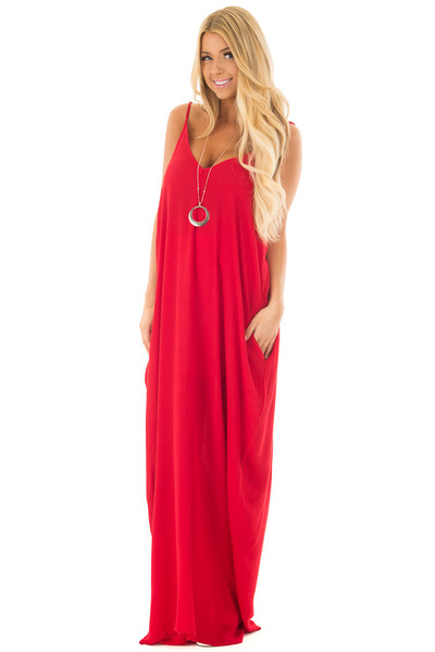 Lipstick Red Sleeveless Cocoon Maxi Dress with Side Pockets front full body