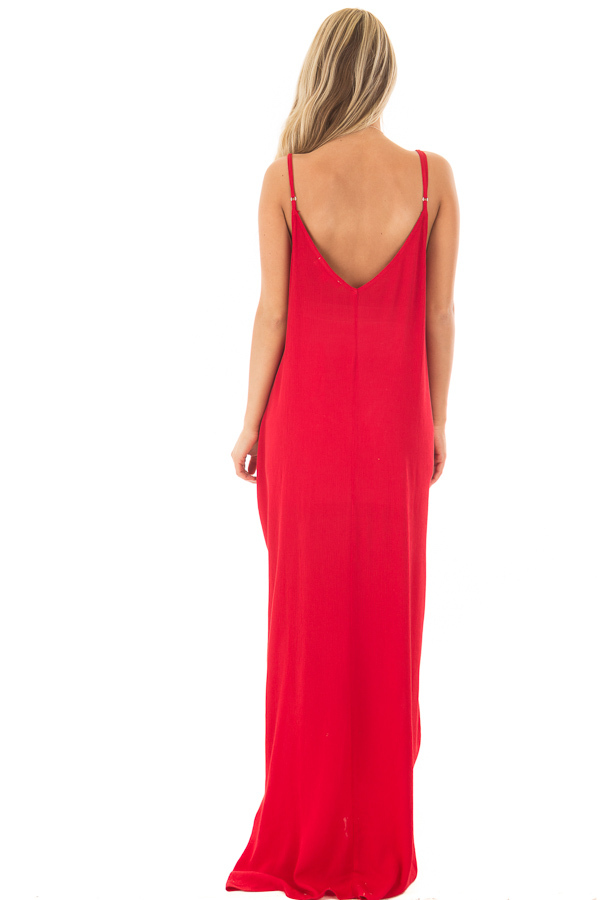 Lipstick Red Sleeveless Cocoon Maxi Dress with Side Pockets back full body