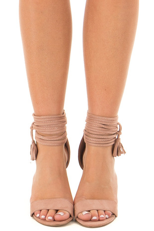 Mauve High Heeled Sandal with Strappy Ankle Details front