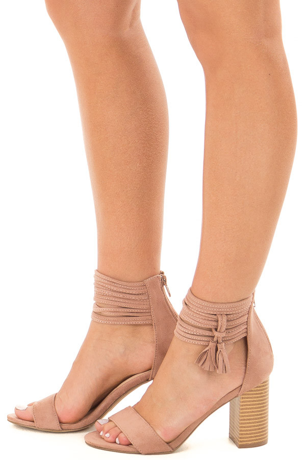 Mauve High Heeled Sandal with Strappy Ankle Details side