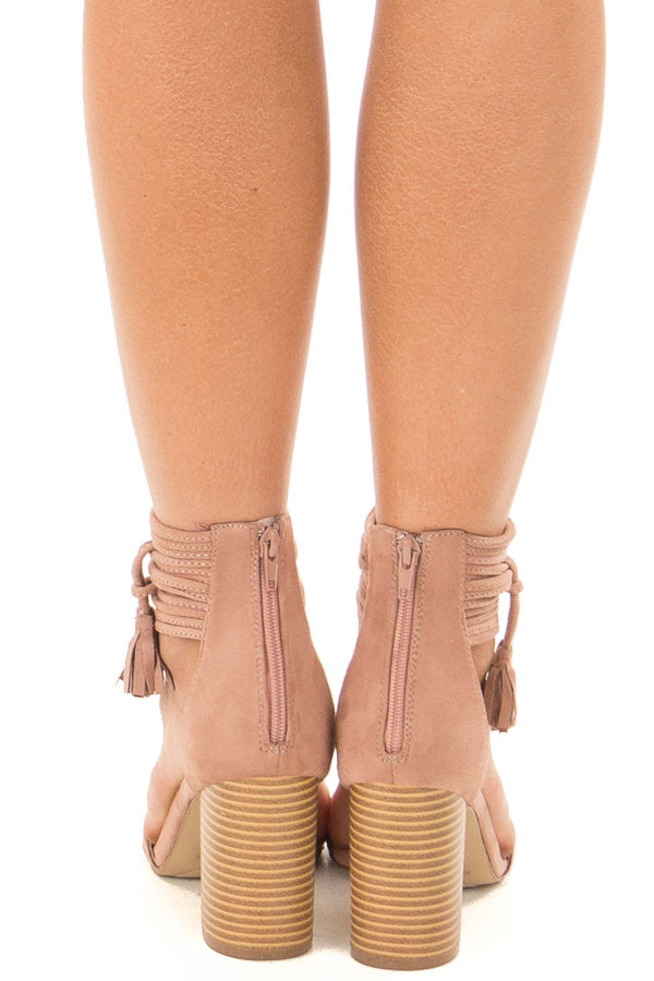 Mauve High Heeled Sandal with Strappy Ankle Details back