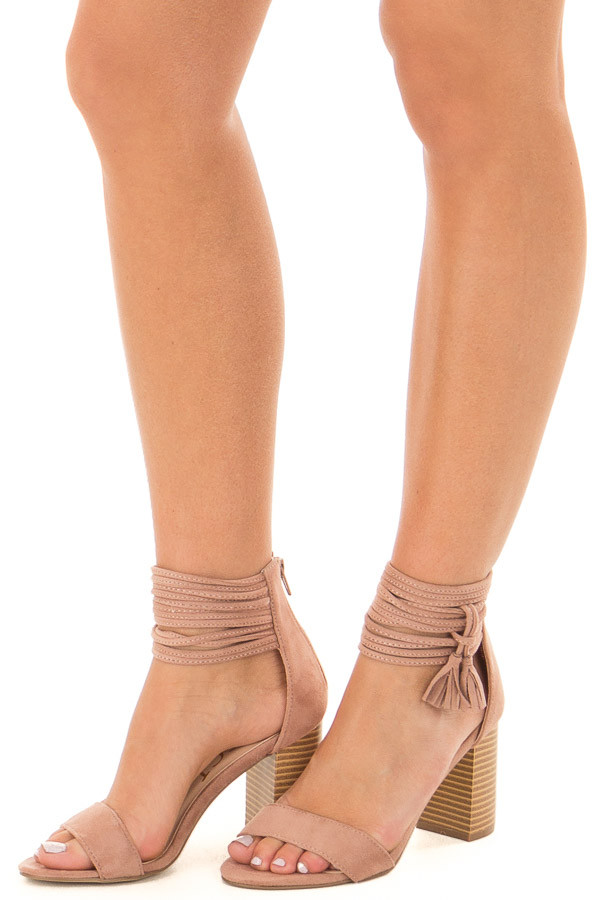 Mauve High Heeled Sandal with Strappy Ankle Details front side