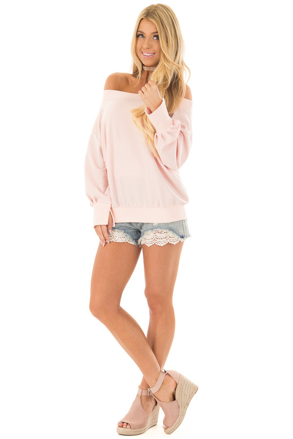 Light Denim Distressed Shorts with Lace Peek a Boo front full body
