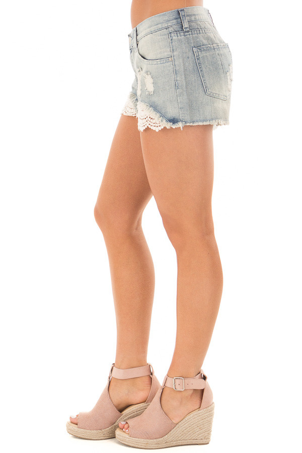 Light Denim Distressed Shorts with Lace Peek a Boo right side