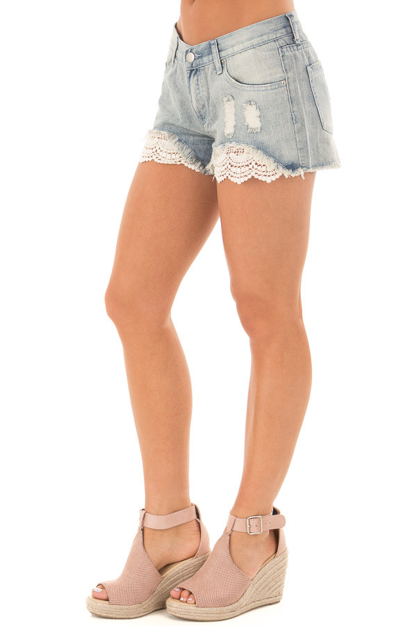Light Denim Distressed Shorts with Lace Peek a Boo front side