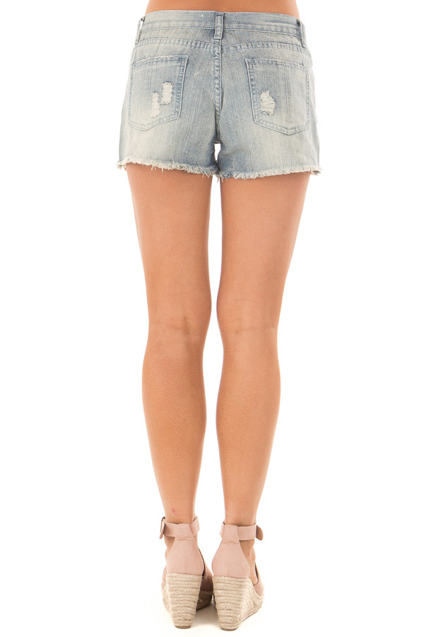 Light Denim Distressed Shorts with Lace Peek a Boo back