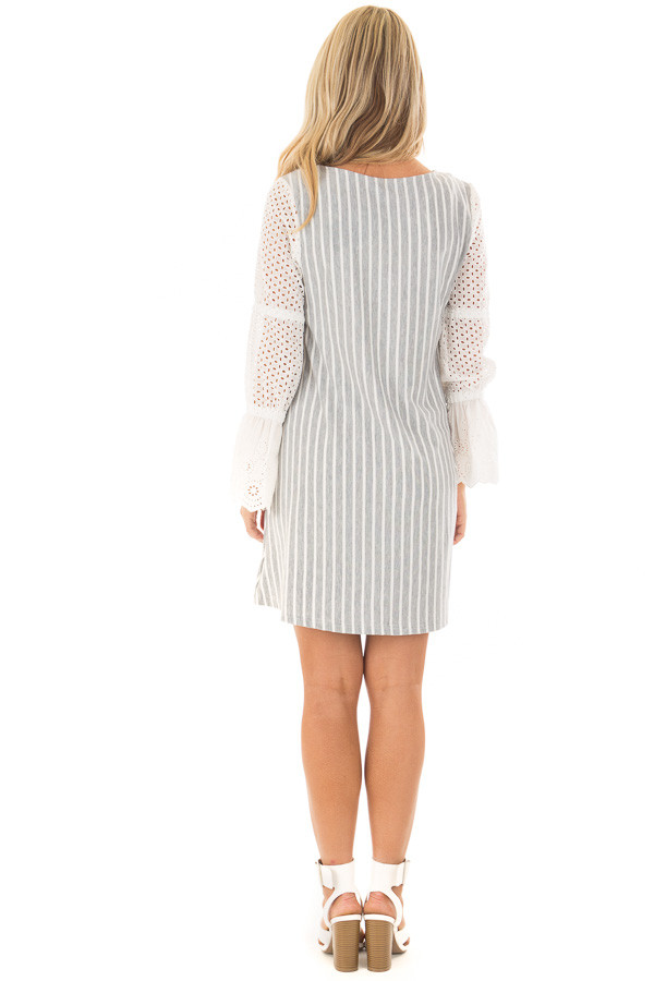 Grey and White Striped Dress with Sheer Detailed Sleeves back full body