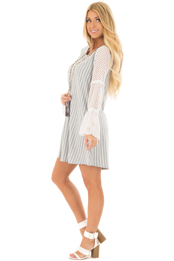 Grey and White Striped Dress with Sheer Detailed Sleeves side full body
