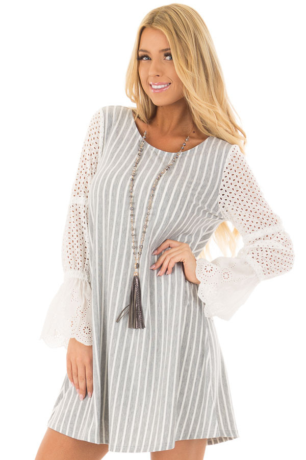 Grey and White Striped Dress with Sheer Detailed Sleeves front closeup