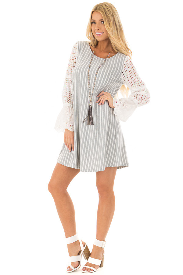 Grey and White Striped Dress with Sheer Detailed Sleeves front full body
