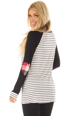 Black Striped Raglan Shirt with Plaid Heart Elbow Patches over the shoulder closeup