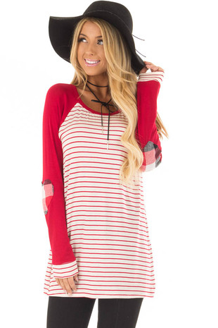 Deep Red Striped Raglan Shirt with Plaid Heart Elbow Patches front closeup