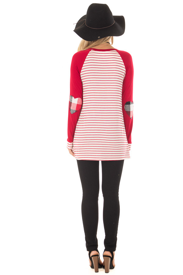 Deep Red Striped Raglan Shirt with Plaid Heart Elbow Patches back full body