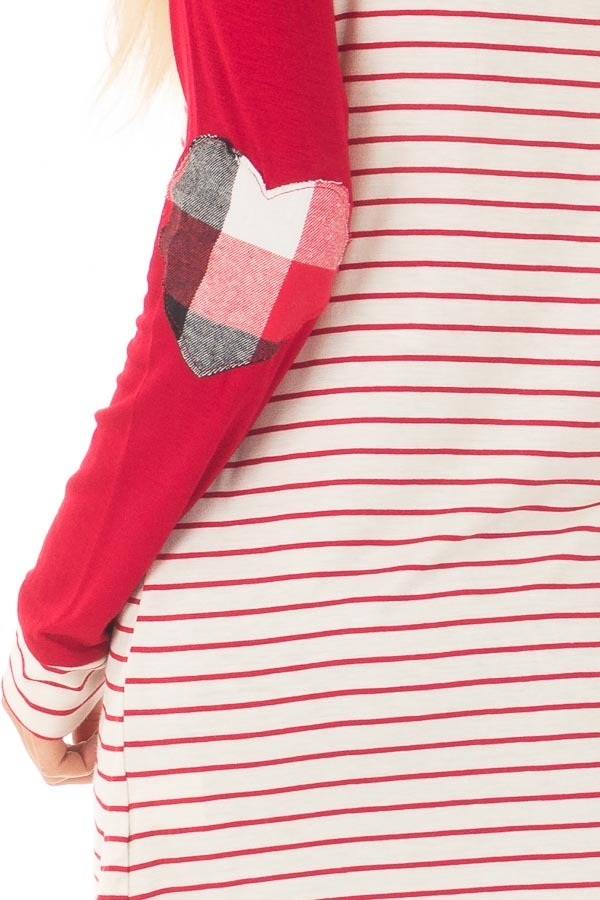 Deep Red Striped Raglan Shirt with Plaid Heart Elbow Patches back detail